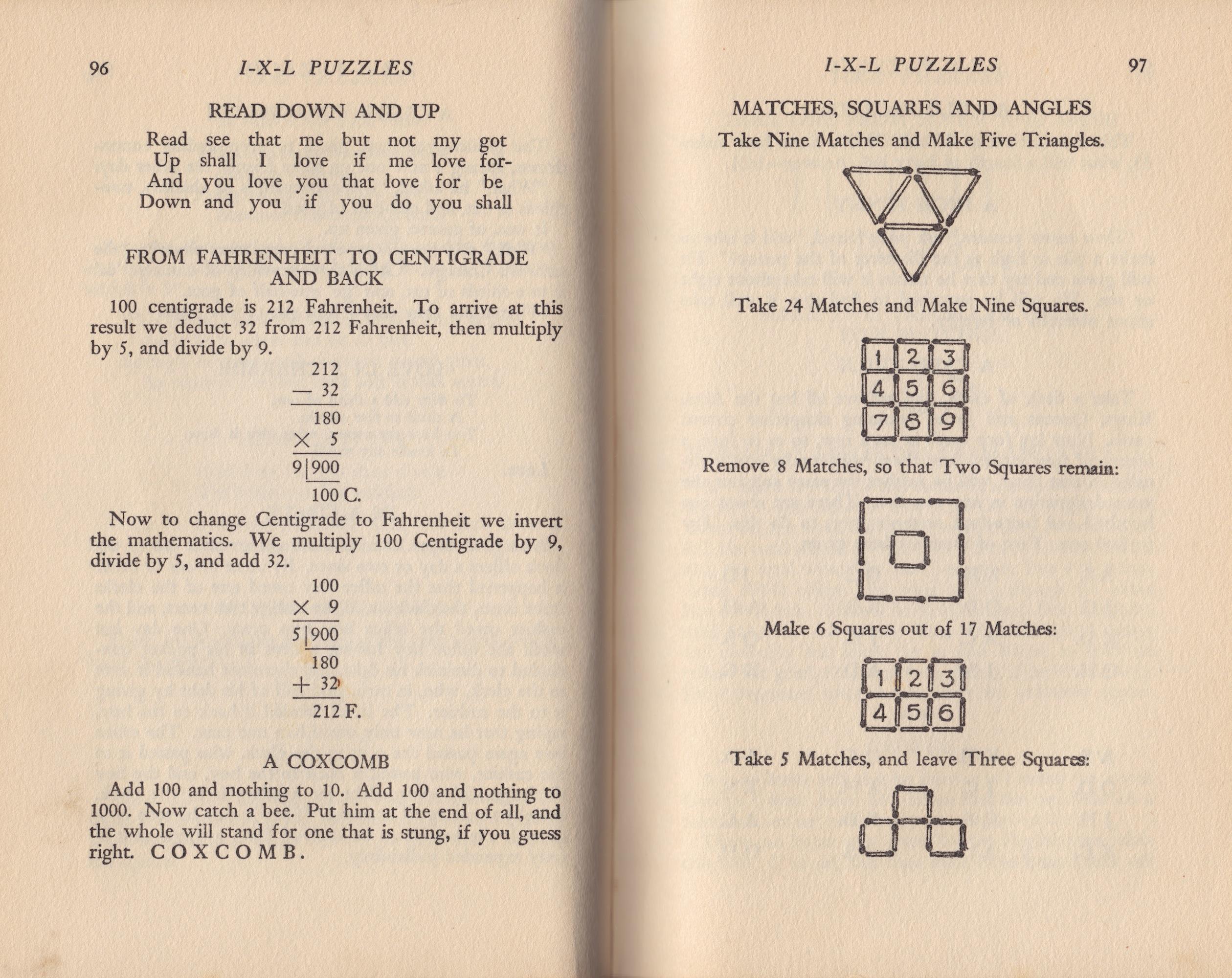 I X L Puzzle Book 1938 Copyright J A Storer